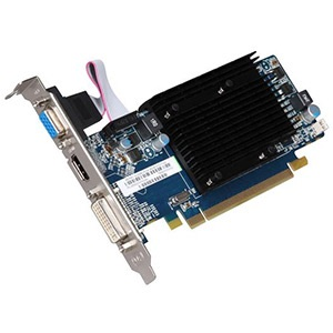 Radeon™ HD 5450 (Fanless) 650MHz, 1GB DDR3 1334MHz, PCIe x16, DVI+HDMI+VGA, Full-height/Low-profile, Retail