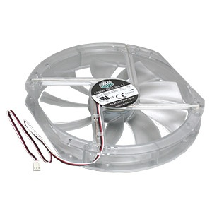 A23030-10CB-3DL-L1 230mm Clear Case Fan w/ Red LED, 3-Pin Power Connector