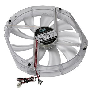 A23030-10CB-3DL-L1 230mm Clear Case Fan w/ Blue LED, 3-Pin Power Connector, LED Switch