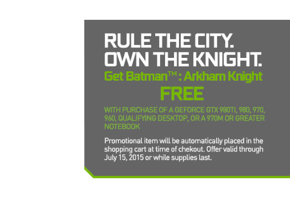 NVIDIA GTX Batman Arkham Knight Bundle