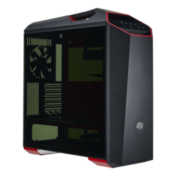 MasterCase Series Maker 5t Tempered Glass, No PSU, ATX, Black/Red, Mid Tower Case