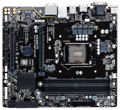 GA-H170M-DS3H Intel H170 Chipset Socket LGA 1151 DDR4 64GB Micro ATX Desktop Motherboard
