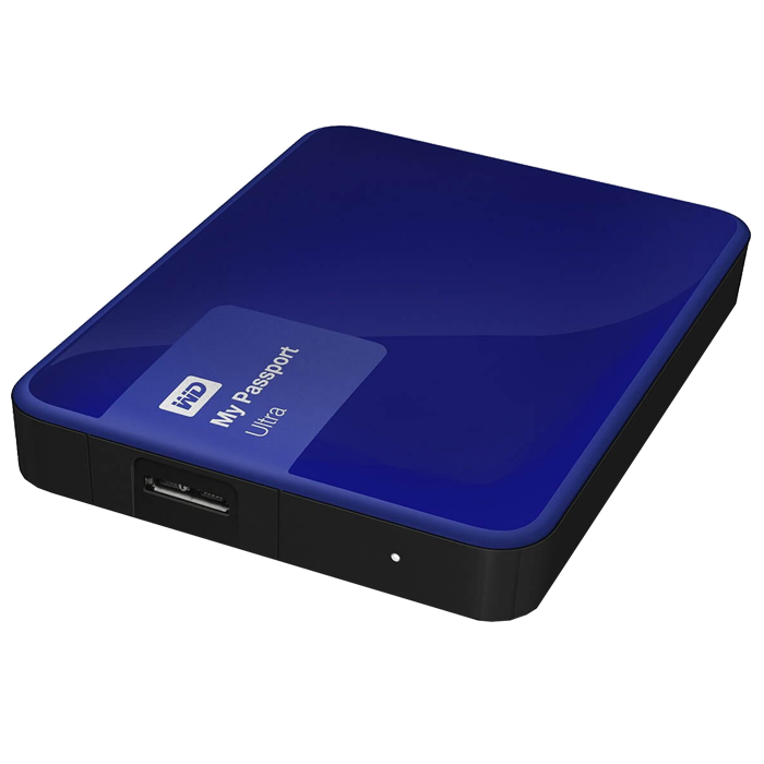 1TB WD My Passport Ultra, External Hard Drive, USB 3.0, Premium Portable, Blue, Retail