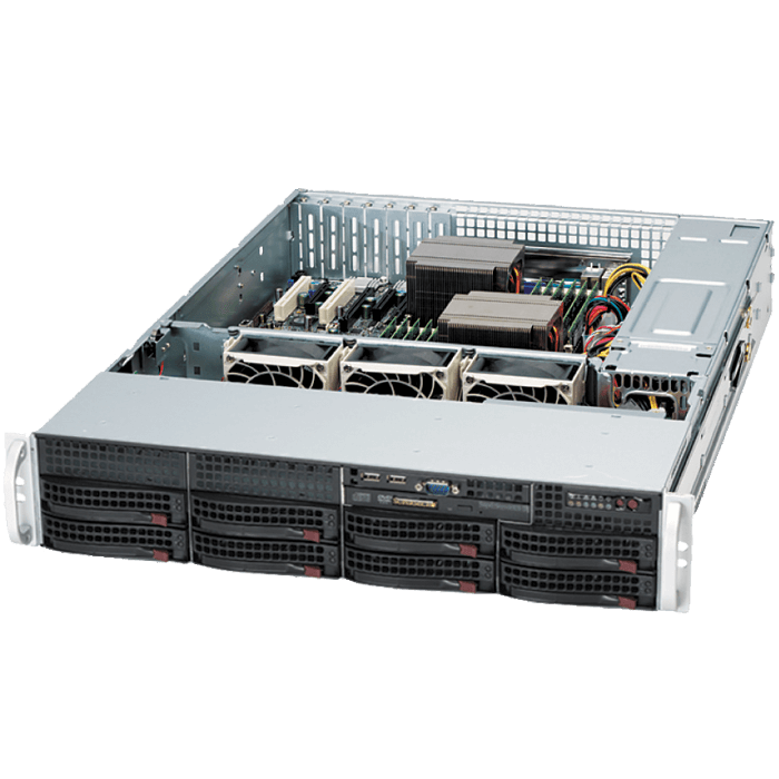 825TQC-R740LPB 2U Rack Server Chassis, 8 x 3.5
