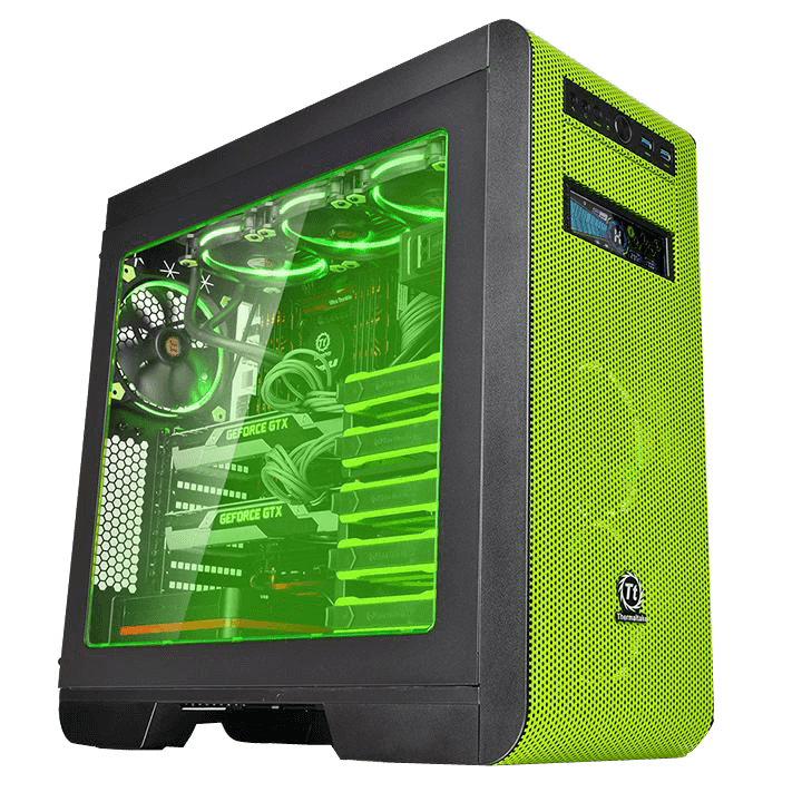 Core Series V51 Riing Edition w/ Window, No PSU, E-ATX, Black/Green, Mid Tower Case