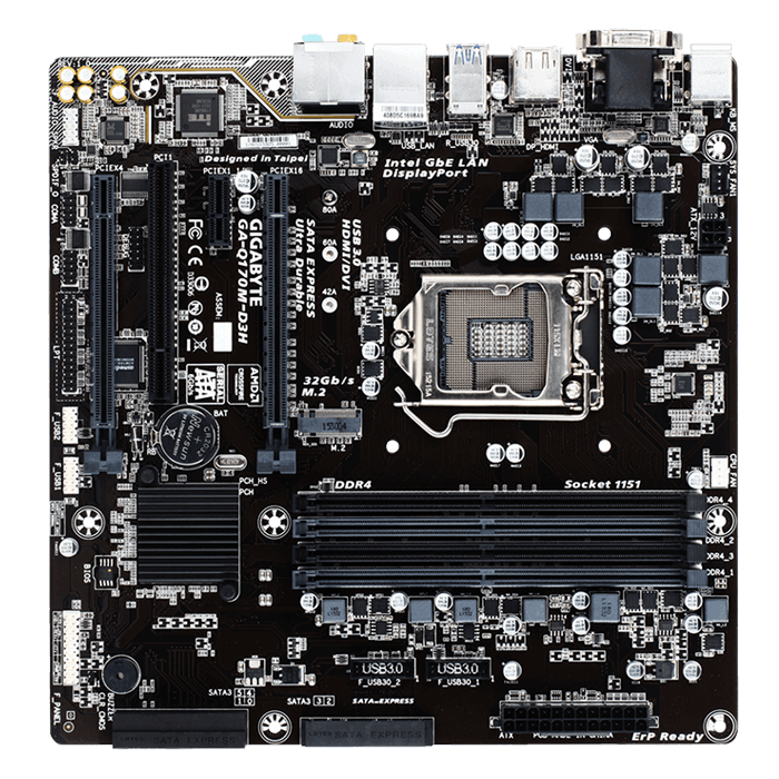 GA-Q170M-D3H, Intel Q170 Chipset, LGA 1151, DDR4 64GB, HDMI, M.2, microATX Retail Motherboard