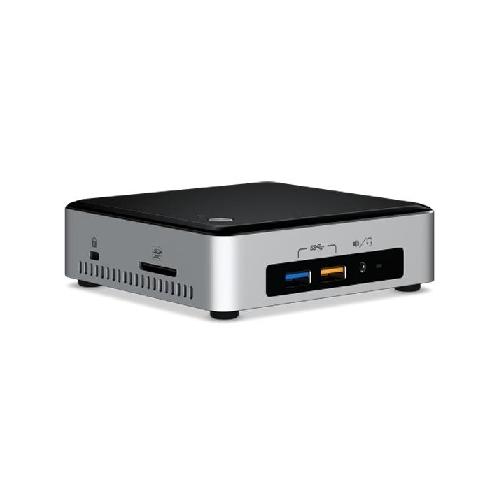 NUC6I3SYK Barebone, Intel® Core™ i3-6100U 2.3GHz, DDR4-2133 SODIMM 32GB / 2, M.2 / 1, mini DisplayPort / 1, HDMI / 1, USB 3.0 / 4, USB 2.0 / 2, WiFi, BT, GbLAN, 65W PSU