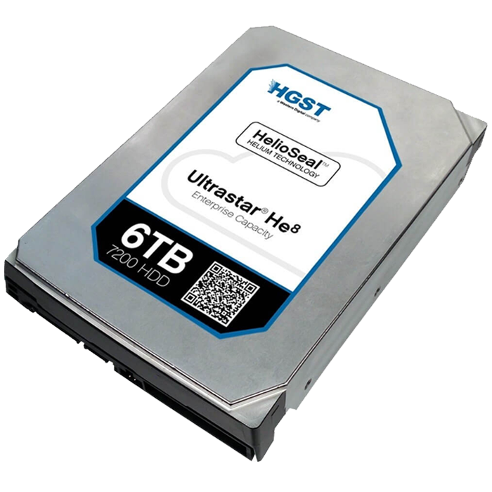 Ultrastar He8, 6 TB, Internal Hard Drive, SATA 6Gb/s, 3.5 Inch, 7200 rpm, 512E SE, 128 MB Buffer, OEM