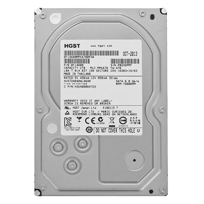 Ultrastar 7K4000, 2 TB, Internal Hard Drive, SAS 6Gb/s, 3.5 Inch, 512N TCG, 7200 rpm, 64 MB Buffer, OEM