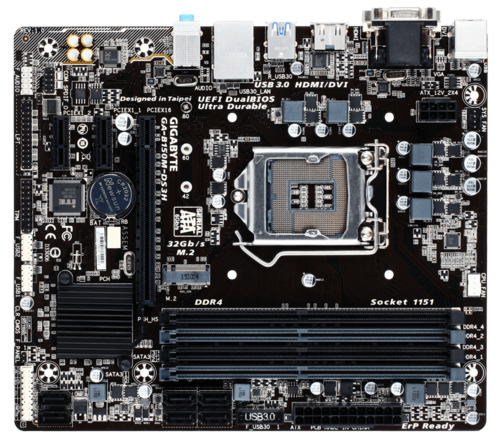 GA-B150M-DS3H, Intel B150 Chipset, LGA 1151, DDR4 64GB, HDMI, M.2, microATX Retail Motherboard