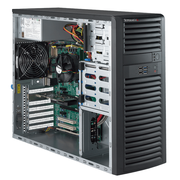 5039A-IL Black Mid-Tower SuperWorkstation Platform, LGA1151, Intel® C236, DDR4-2133 64GB ECC UDIMM / 4, 8x SATA, GbLAN / 2, 500W PSU