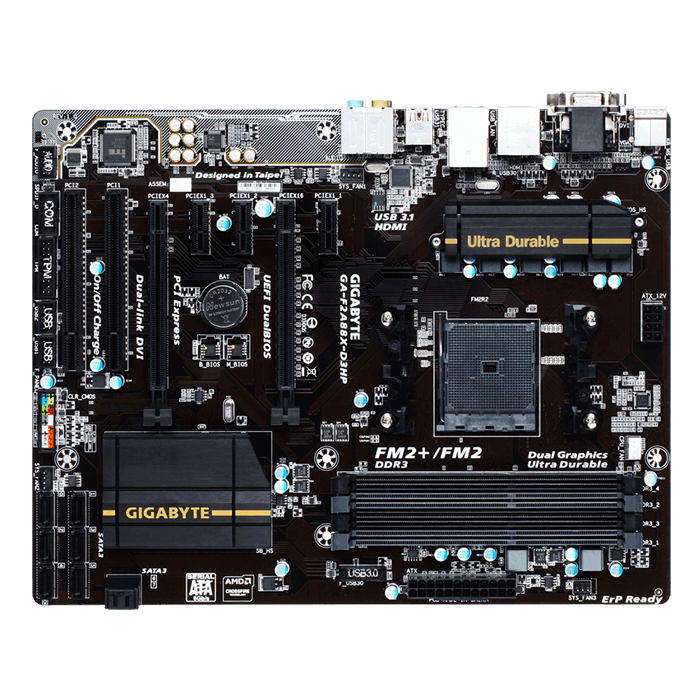 GA-F2A88X-D3HP, AMD A88X Chipset, FM2+, DDR3 64GB, HDMI, USB 3.1, ATX Retail Motherboard