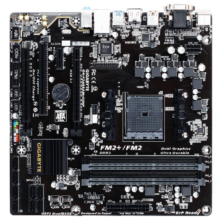 GA-F2A88XM-D3HP, AMD A88X Chipset, FM2+, DDR3 64GB, HDMI, USB 3.1, microATX Retail Motherboard
