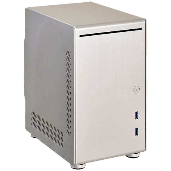 PC-Q21B, No PSU, Mini-ITX, Silver, Mini Tower Case