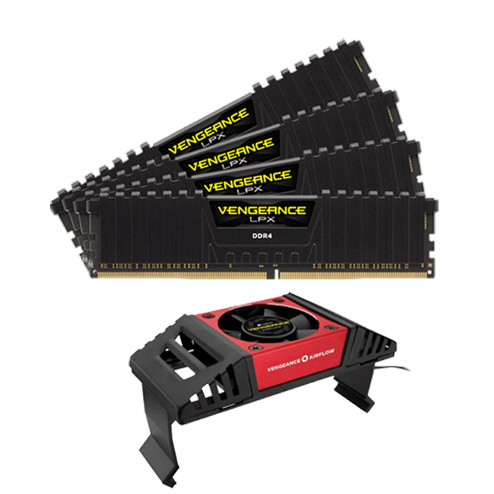 32GB Kit (4 x 8GB) Vengeance LPX DDR4 3600MHz, PC4-28800, CL18 (18-19-19-39) 1.35V, Non-ECC, Black, DIMM Memory