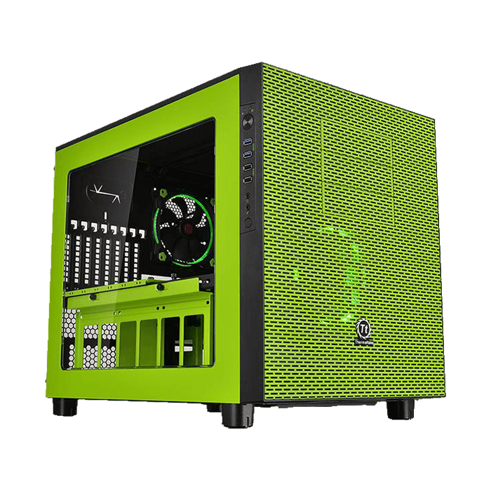 Core Series X5 Riing Edition w/ Window, No PSU, E-ATX, Green, Cube Case