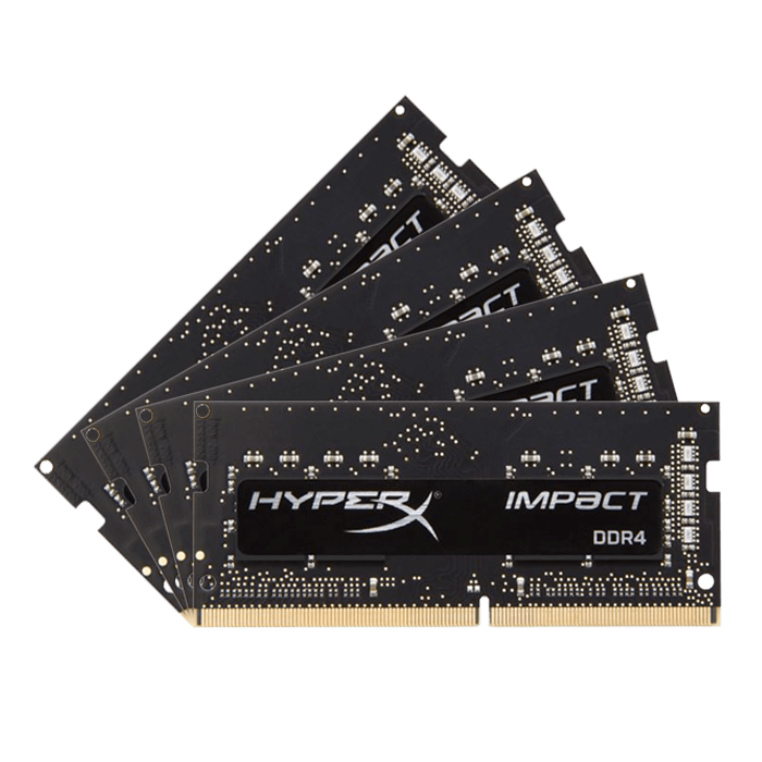 16GB Kit (4 x 4GB) HyperX Impact DDR4 2133MHz, PC4-17000, CL14 (14-14-14) 1.2V, Non-ECC, Black, SODIMM Memory