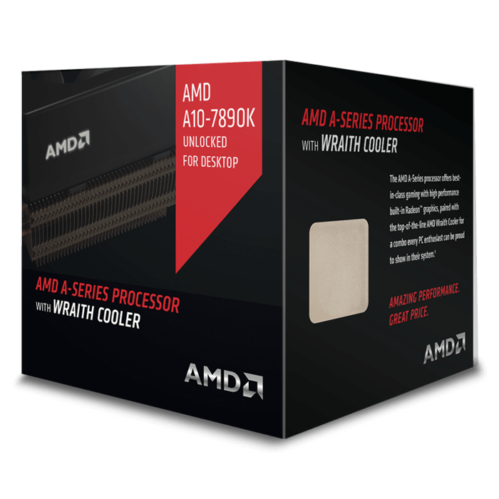 A10 7890K Quad-Core 4.1 - 4.3GHz TB, Radeon R7, FM2+, 4MB L2 Cache, DDR3, 28nm, 95W, w/ Wraith Cooler Retail Processor