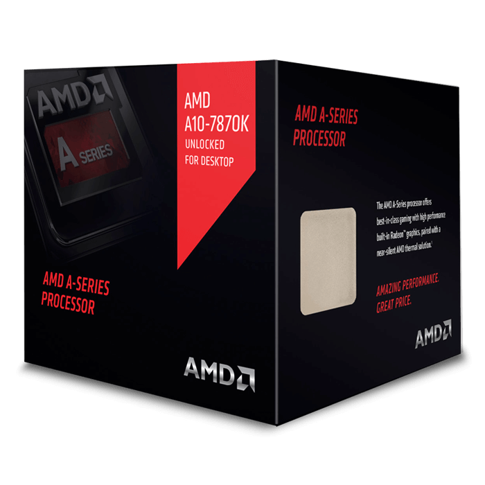 A10 7870K Quad-Core 3.9 - 4.1GHz TB, Radeon R7, FM2+, 4MB L2 Cache, DDR3, 28nm, 95W, w/ Quiet Cooler Retail Processor