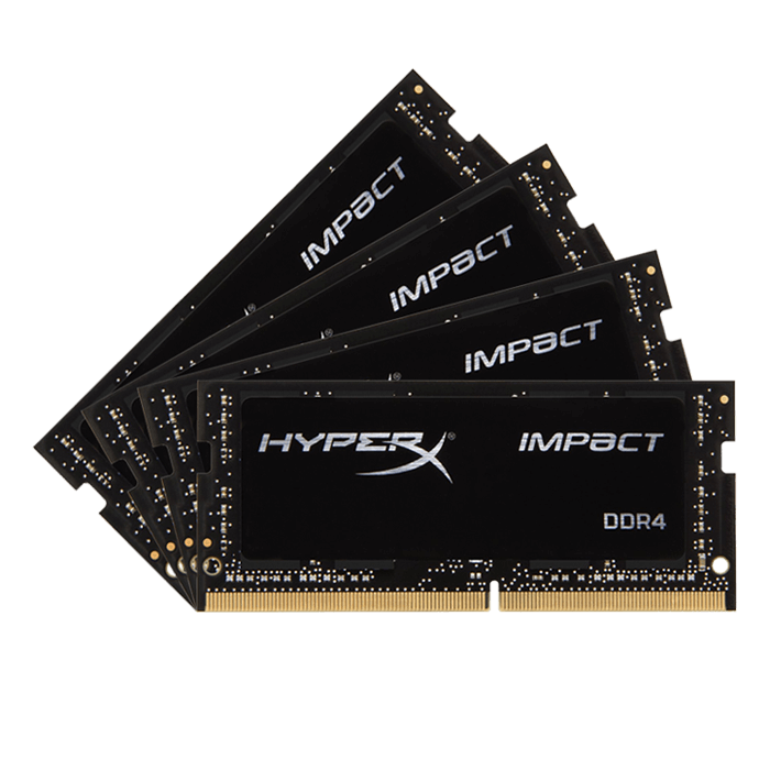 64GB Kit (4 x 16GB) HyperX Impact DDR4 2400MHz, PC4-19200, CL15 (15-15-15) 1.2V, Non-ECC, Black, SODIMM Memory