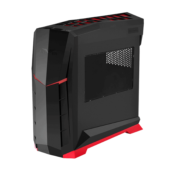 Raven Series SST-RVX01BR-W w/ Window, No PSU, ATX, Black/Red, Mid Tower Case