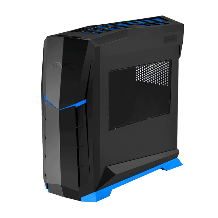Raven Series SST-RVX01BA-W w/ Window, No PSU, ATX, Black/Blue, Mid Tower Case