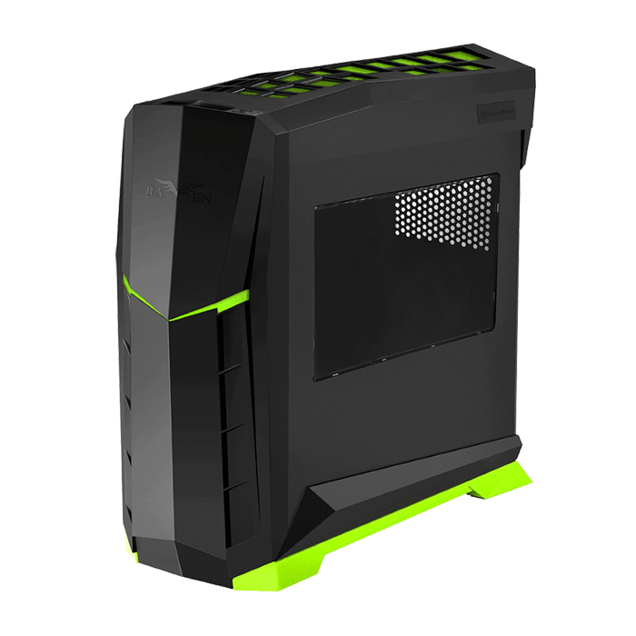 Raven Series SST-RVX01BV-W w/ Window, No PSU, ATX, Black/Green, Mid Tower Case