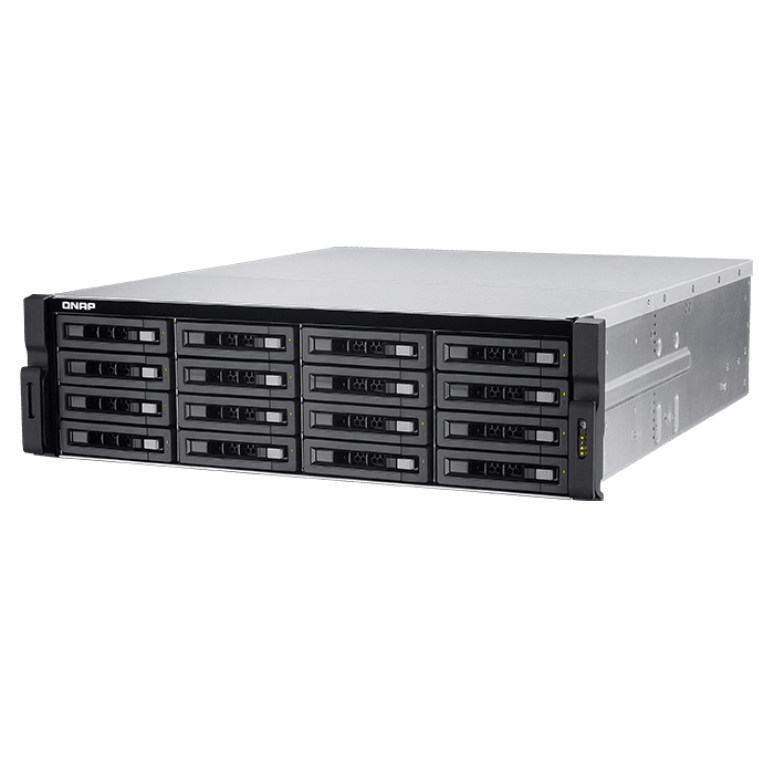 TVS-EC1680U-SAS-RP R2 3U high-performance NAS/iSCSI/IP-SAN unified storage, Intel® Xeon® E3-1246 v3, DDR3-1600 32GB ECC DIMM / 4, SAS3 / 16, mSATA / 2, 10Gbe SFP+ / 2, GbLAN / 4, 650W Rdt PSU