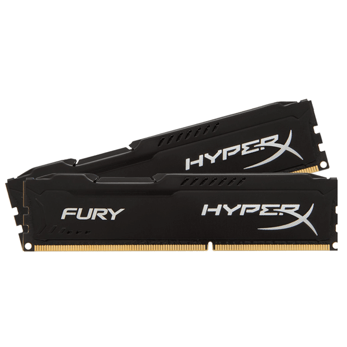 16GB Kit (2 x 8GB) HyperX Fury DDR4 2400MHz, PC4-19200, CL15 (15-15-15) 1.2V, Non-ECC, Black, DIMM Memory