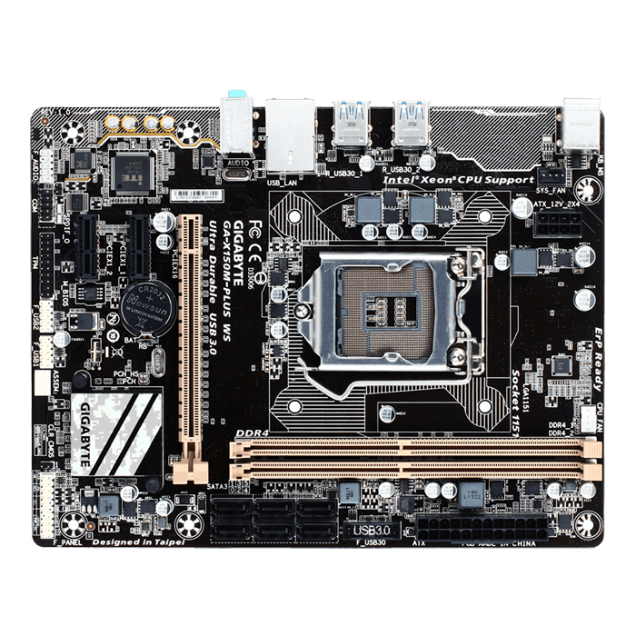 GA-X150M-PLUS WS, Intel C232 Chipset, LGA 1151, DDR4 32GB, microATX Retail Motherboard