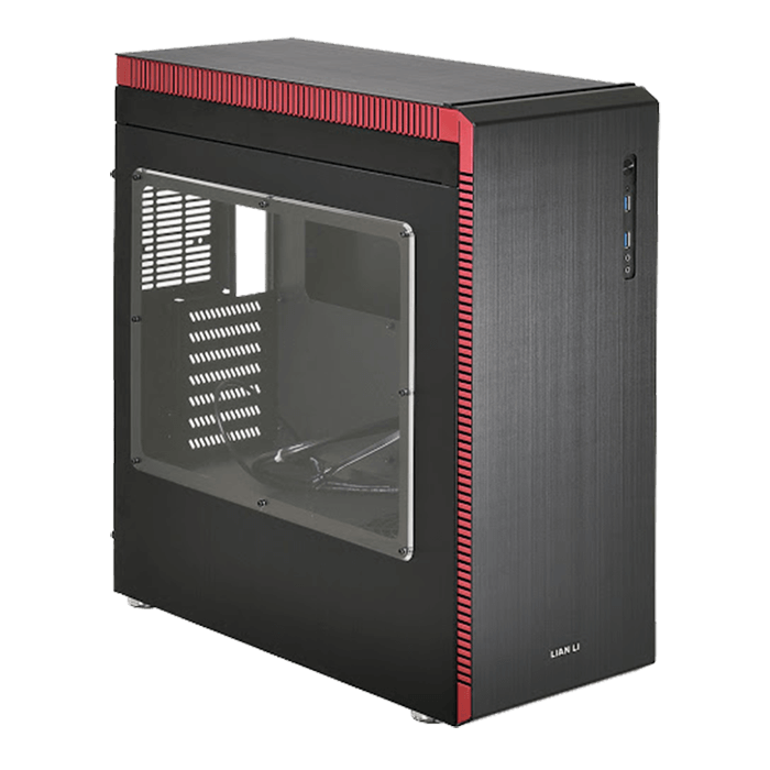 PC-J60WRX w/ Window, No PSU, ATX, Black/Red, Mid Tower Case