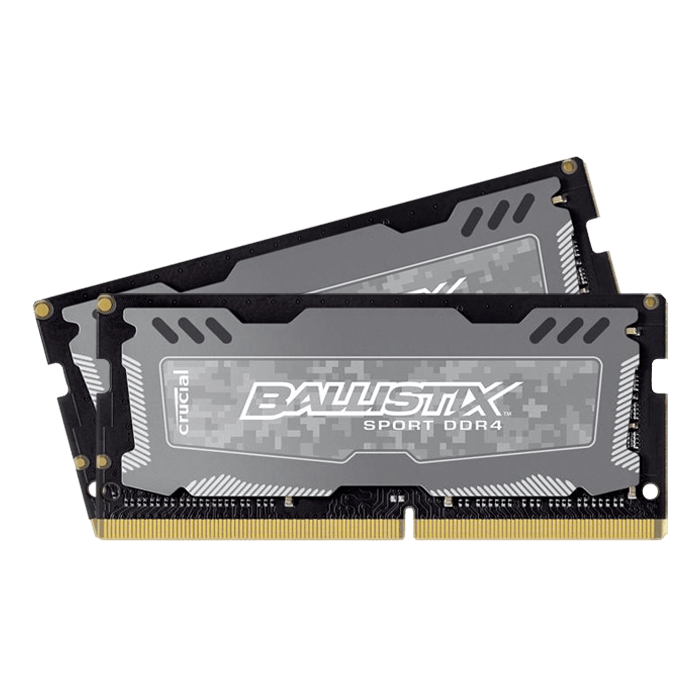 16GB Kit (2 x 8GB) Ballistix Sport LT DDR4 2400MHz, PC4-19200, CL16 1.2V, Non-ECC, Grey, SO-DIMM Memory