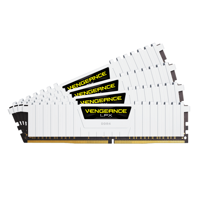64GB Kit (4 x 16GB) Vengeance LPX DDR4 2666MHz, PC4-21300, CL16 (16-18-18-35) 1.2V, Non-ECC, White, DIMM Memory