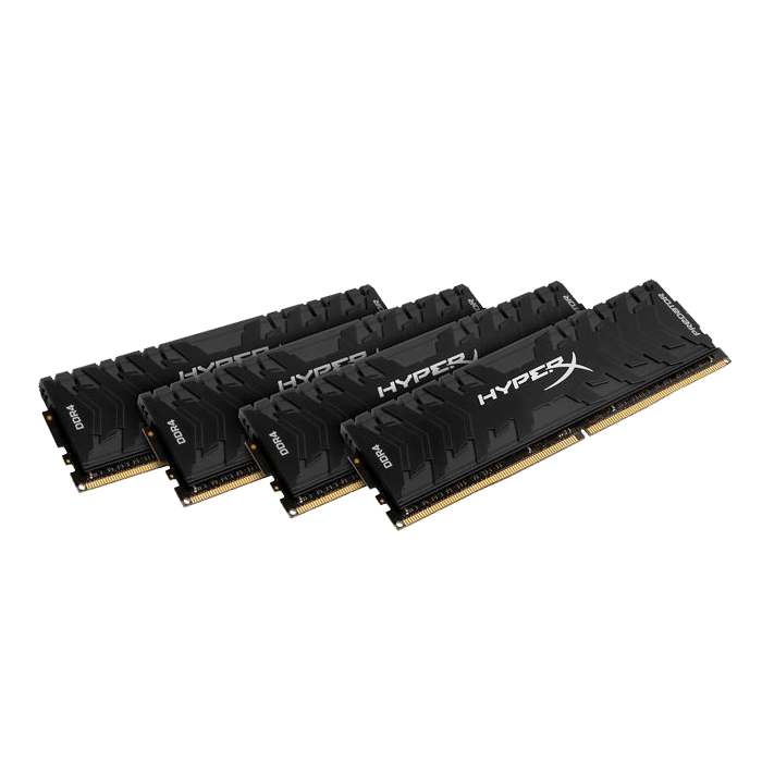 32GB Kit (4 x 8GB) HyperX Predator DDR4 3200MHz, PC4-25600, CL16 (16-18-18) 1.2V, Non-ECC, Black, DIMM Memory