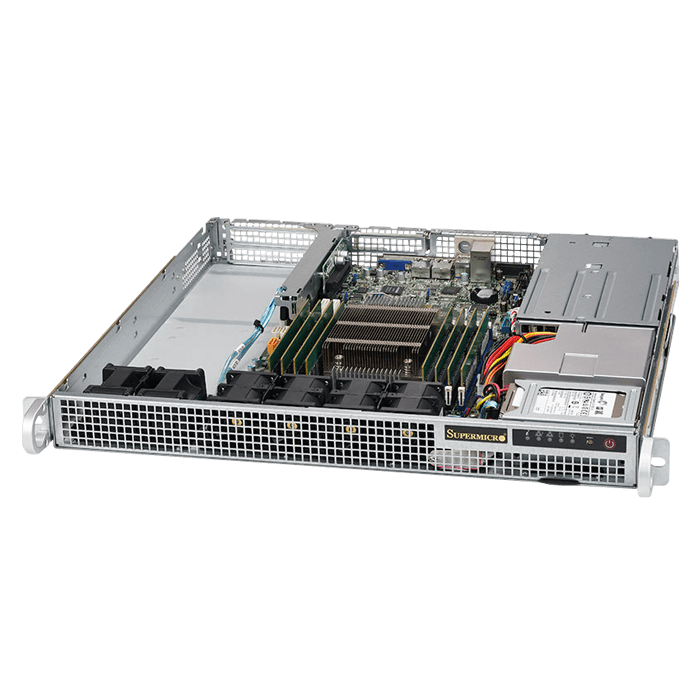 SuperServer 1018R-WR, 1U, Intel C612, 2x SATA, 8x DDR4, Dual 1Gb Ethernet, 400W Rdt PSU