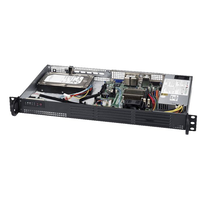 SuperServer 5018A-LTN4, 1U, Intel Atom C2358, 4x SATA, 2x DDR3, Quad 1Gb Ethernet, 200W PSU