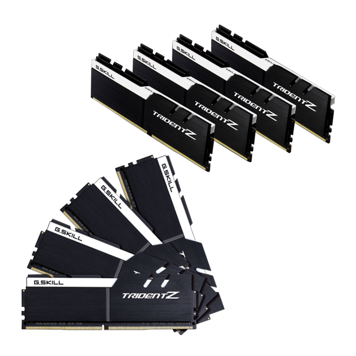 64GB Kit (8 x 8GB) Trident Z DDR4 3200MHz, PC4-25600, CL16 (16-18-18-38) 1.2V, Non-ECC, Black-White, DIMM Memory