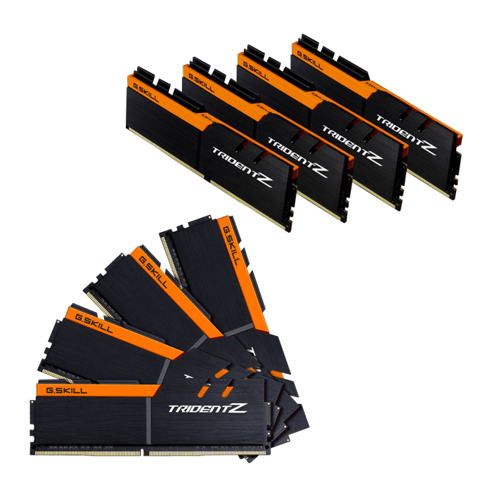64GB Kit (8 x 8GB) Trident Z DDR4 3200MHz, PC4-25600, CL16 (16-18-18-38) 1.2V, Non-ECC, Black-Orange, DIMM Memory