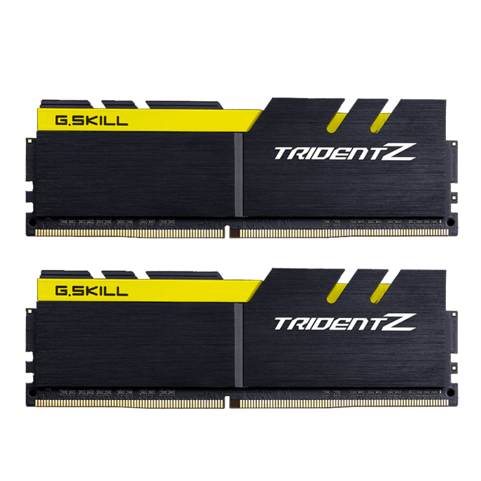 32GB Kit (2 x 16GB) Trident Z DDR4 3200MHz, PC4-25600, CL16 (16-18-18-38) 1.2V, Non-ECC, Black-Yellow, DIMM Memory