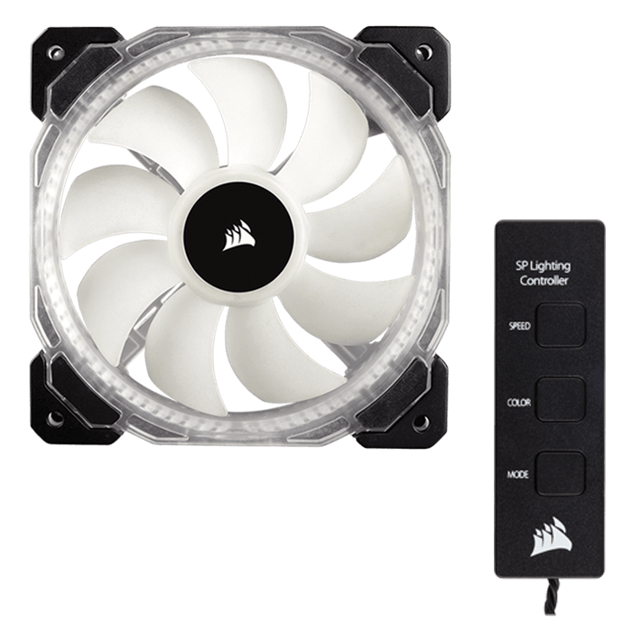 HD120 120mm High Performance w/ Controller, w/ RGB LEDs, 1725 RPM, 54.4 CFM, 30 dBA Cooling Fan