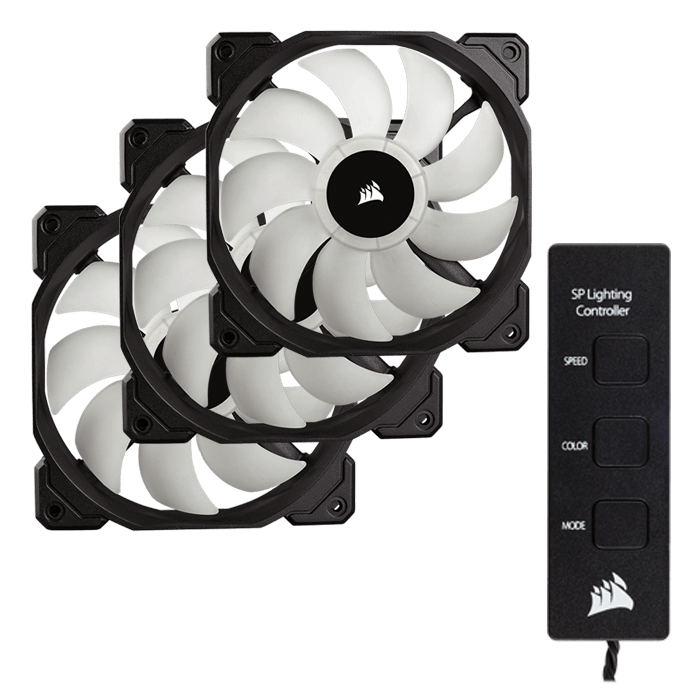 SP120 3 x 120mm High Performance w/ Controller, w/ RGB LEDs, 1400 RPM, 52 CFM, 26 dBA Cooling Fan