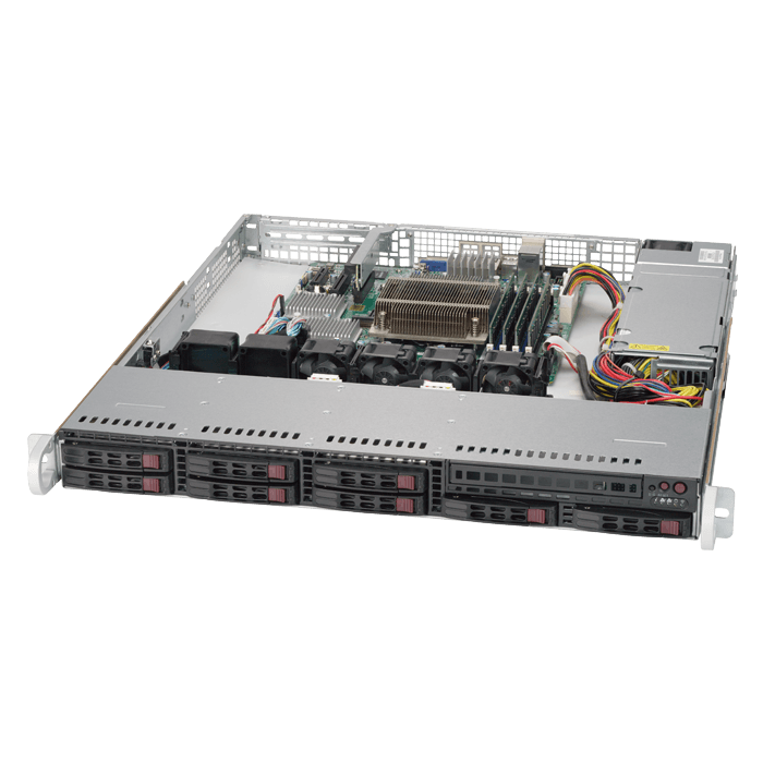 SuperServer 1019S-MC0T, 1U, Intel C236, 8x SATA/SAS, LSI 3008 12Gbps SAS, 4x DDR4, Dual 10Gb Ethernet, 340W PSU