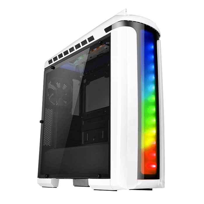 Versa Series C22 RGB Snow Edition, w/ Window, No PSU, ATX, White/Black, Mid Tower Case