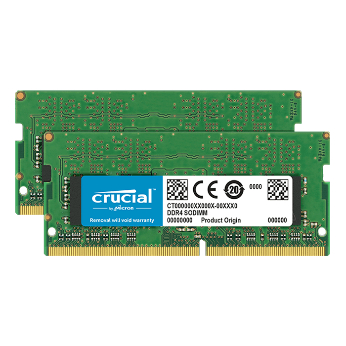 16GB Kit (2 x 8GB) Dual-Rank DDR4 2400MHz, PC4-19200, CL17 1.2V, Non-ECC, SO-DIMM Memory