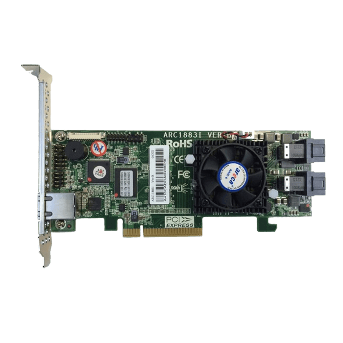ARC-1883i, SAS 12Gb/s, 8-Port, PCIe 3.0 x8, Controller with 2GB Cache, Includes 2x Internal HD MiniSAS (SFF-8643) to MiniSAS (SFF-8087) Cables