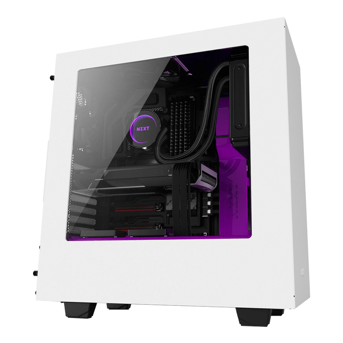 Source Series S340 w/ Window, No PSU, ATX, White/Purple, Mid Tower Case