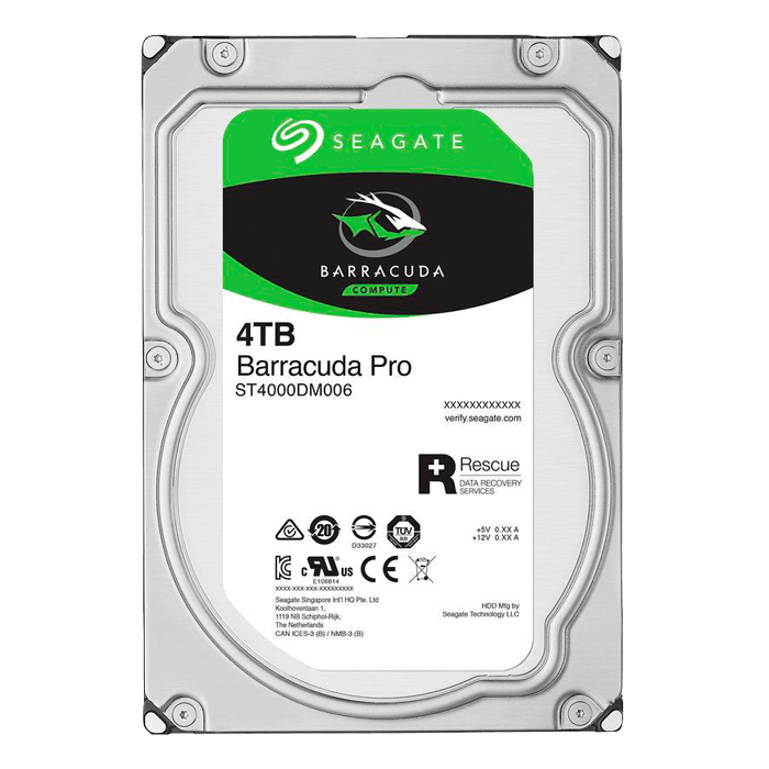 4TB BarraCuda Pro ST4000DM006, 7200 RPM, SATA 6Gb/s, 512E, 128MB cache, 3.5-Inch OEM HDD