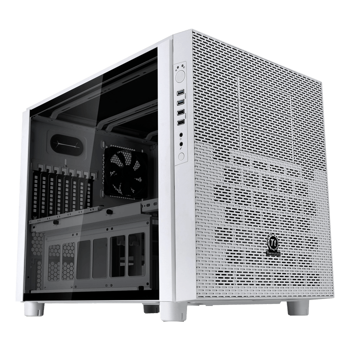 Core Series X5 Tempered Glass Snow Edition w/ Window, No PSU, E-ATX, White, Cube Case