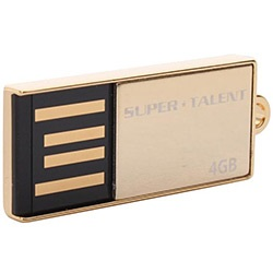 Pico C Gold Capless USB 2.0 Flash Drive, 4GB, Retail