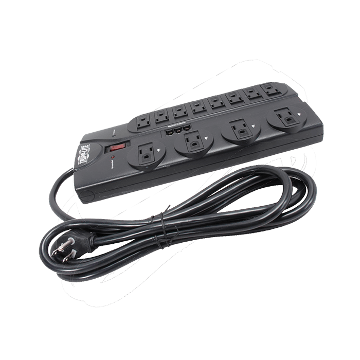 TLP1208TEL, 12 Outlets, 8-ft cord, 120V/15A, Black, Surge Protector